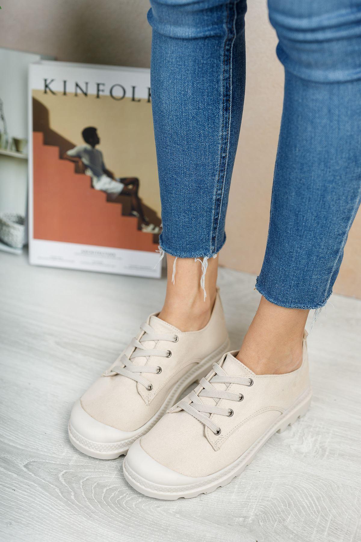 Pirina Vizon Süet Bağcıklı Kadın Spor Ayakkabı