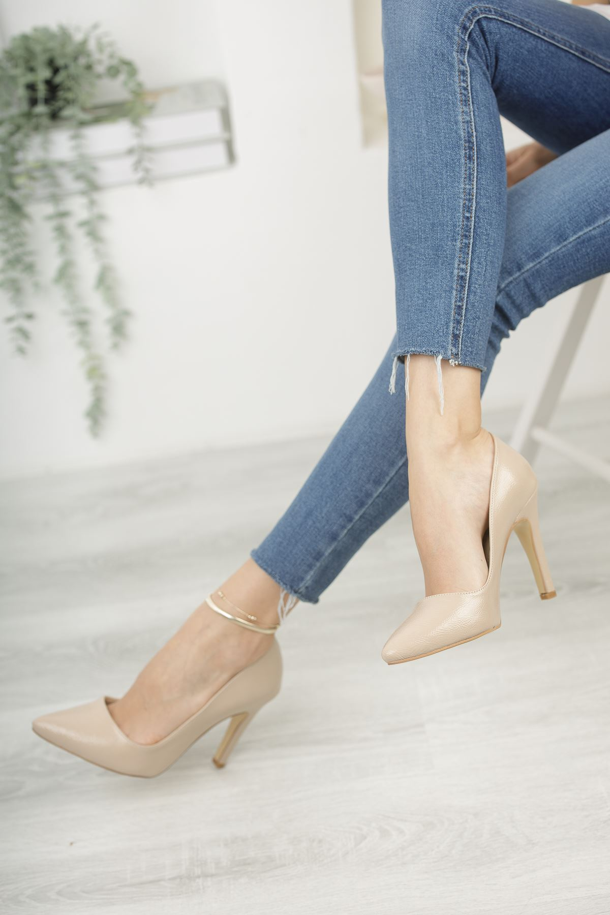 Mariam Vizon Kırışık Rugan Yüksek Topuklu Stiletto