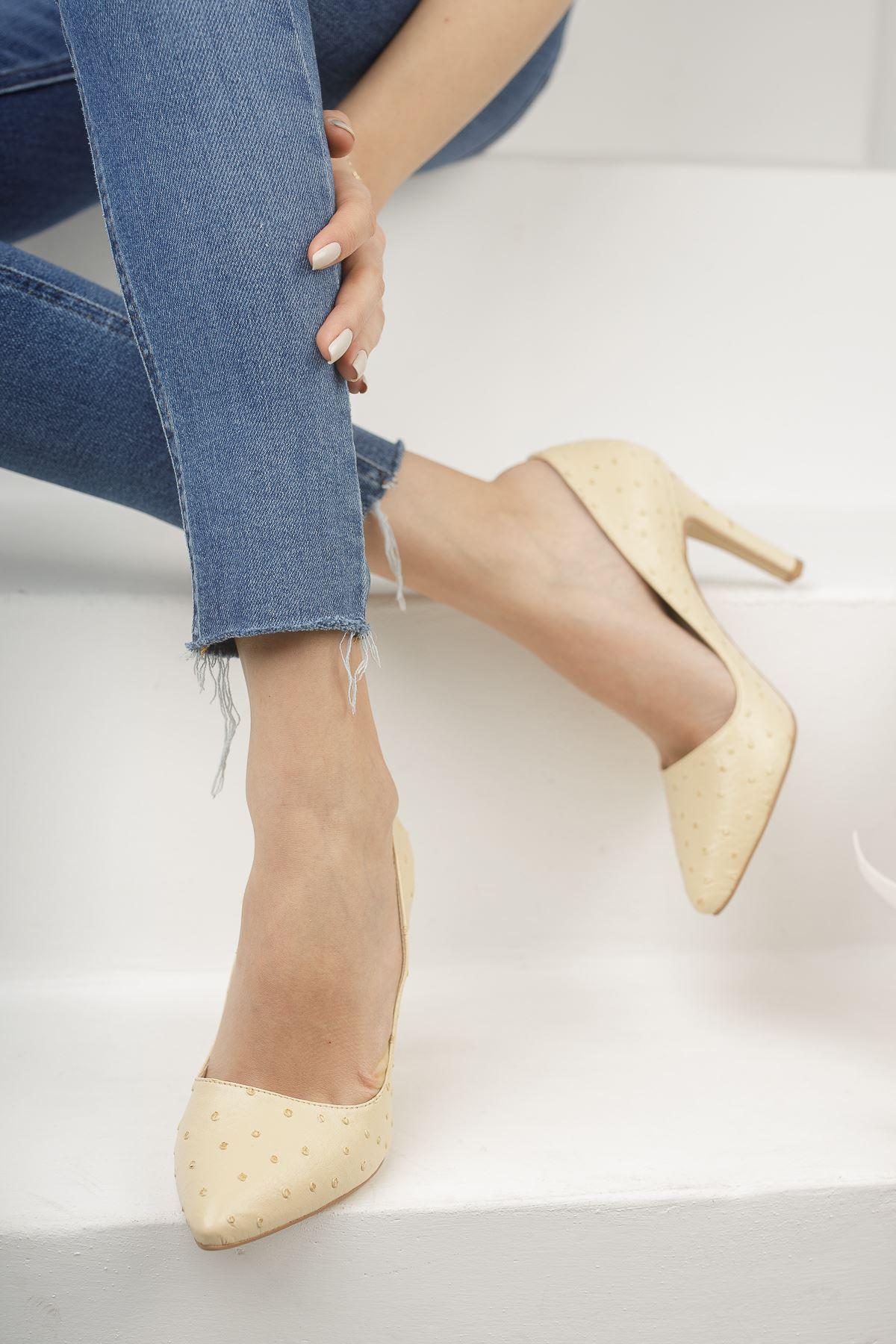 Mariam Krem Yüksek Topuklu Stiletto