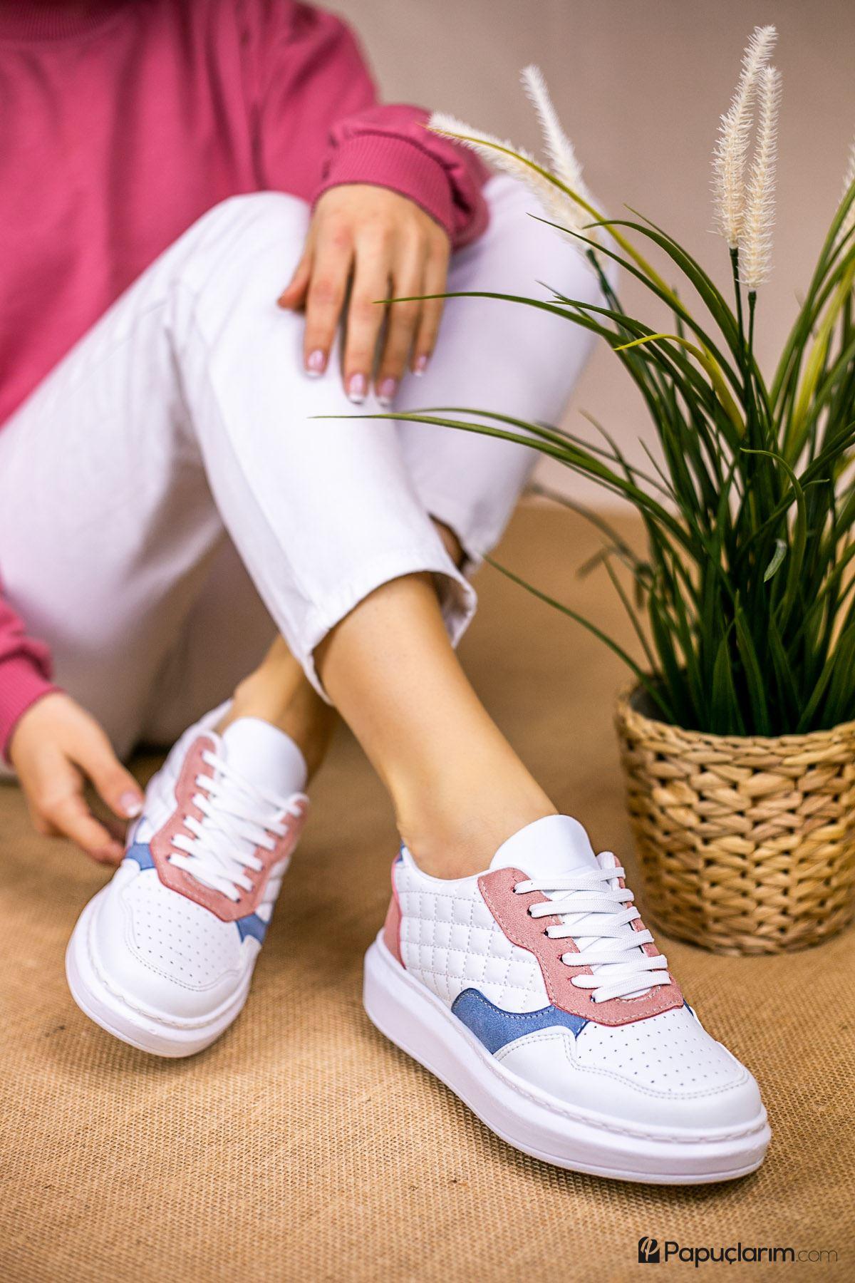 Danila Vizon Kapitone Pudra-Mavi Süet Bağcıklı Kadın Spor Ayakkabı