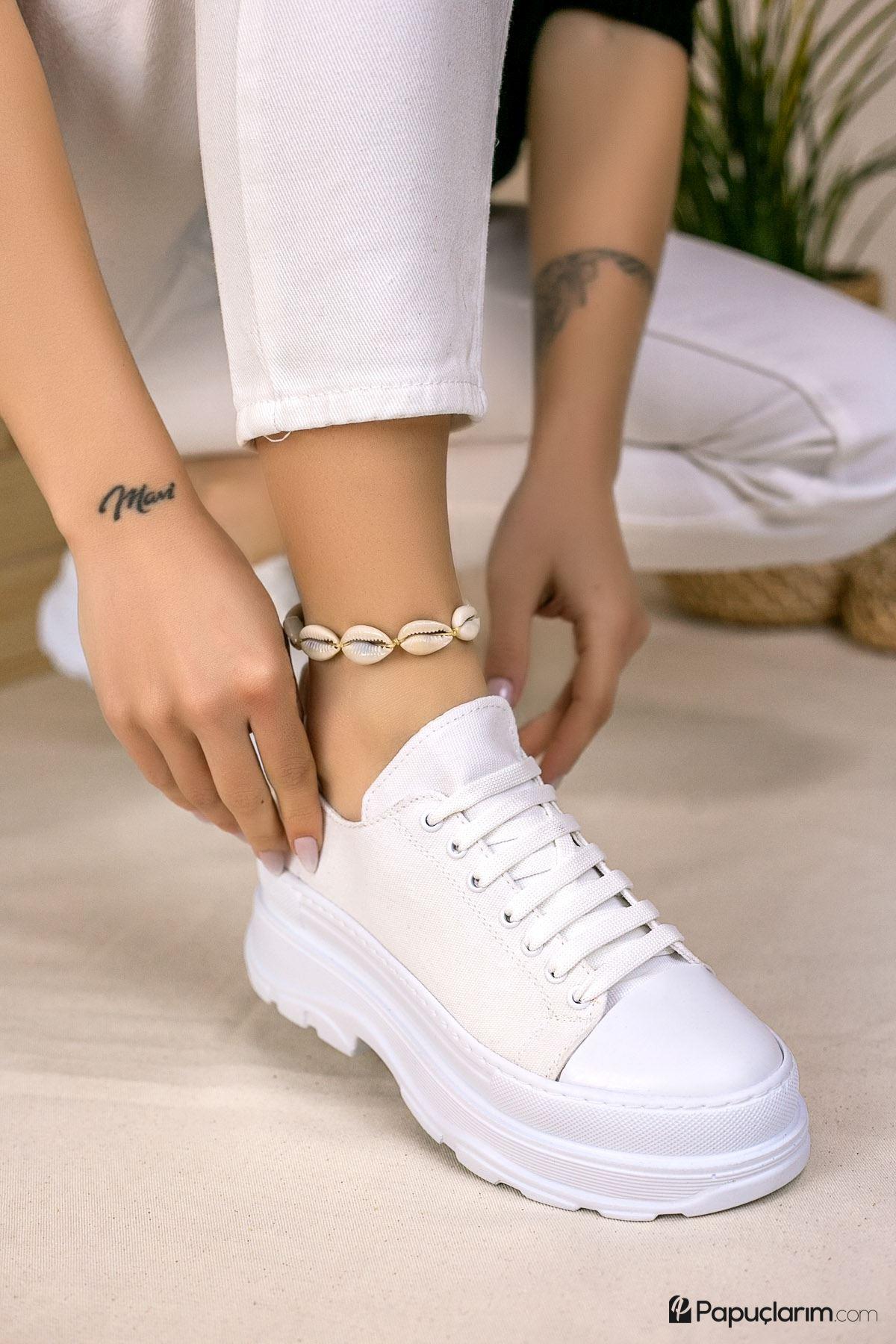 Dubai Beyaz Keten Bağcıklı Kadın Spor Ayakkabı