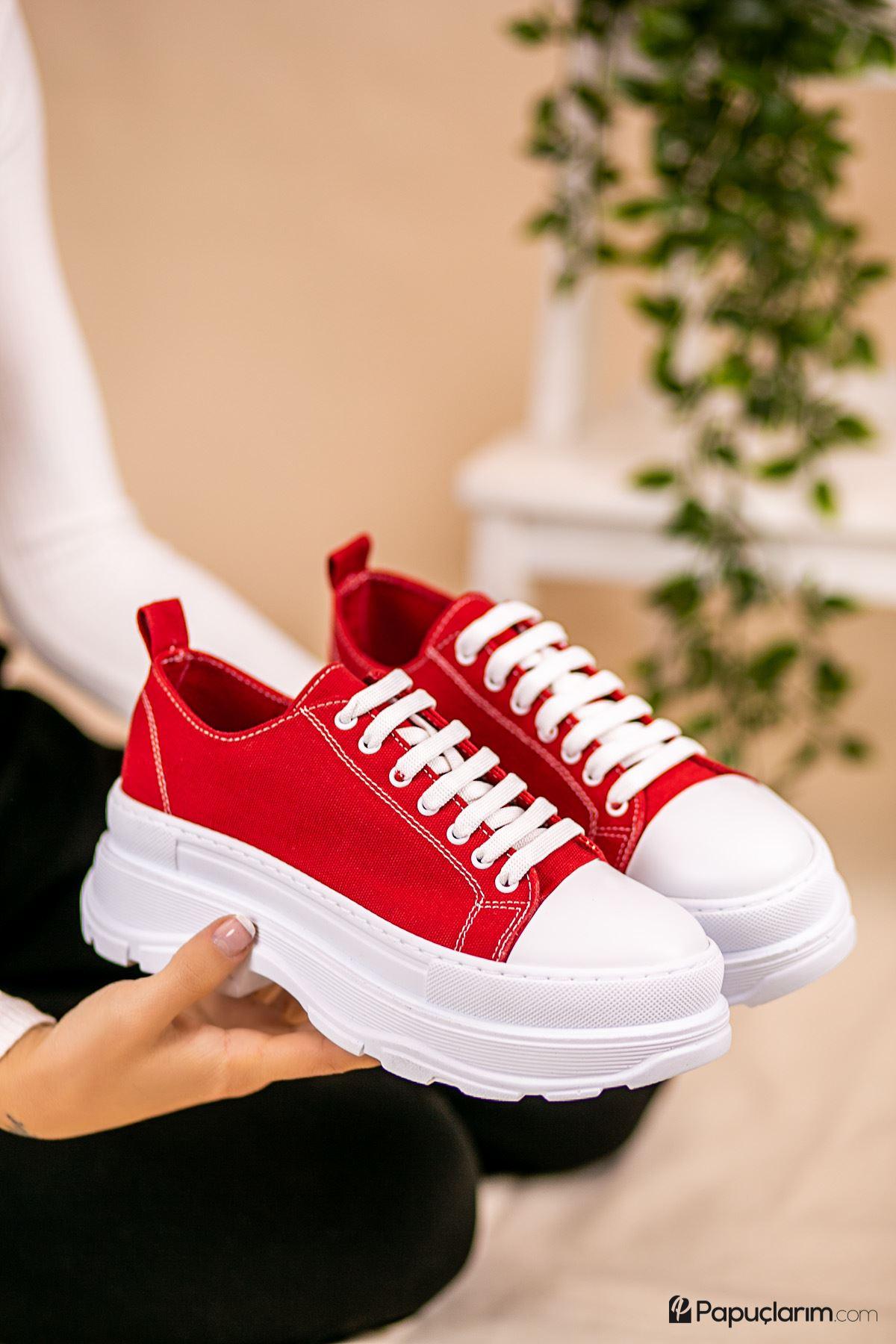 Dubai Kırmızı Keten Bağcıklı Kadın Spor Ayakkabı