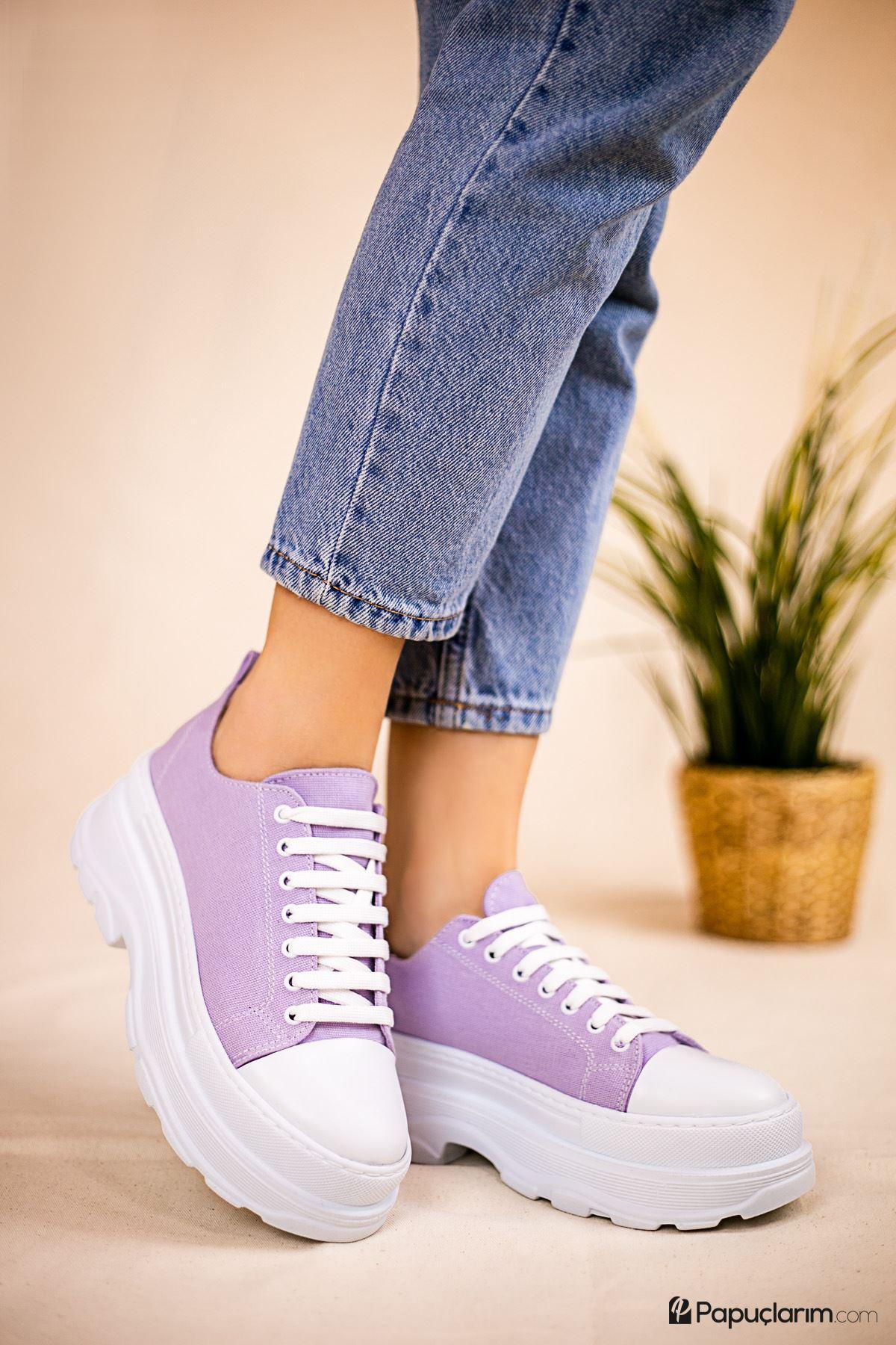 Dubai Lila Keten Bağcıklı Kadın Spor Ayakkabı