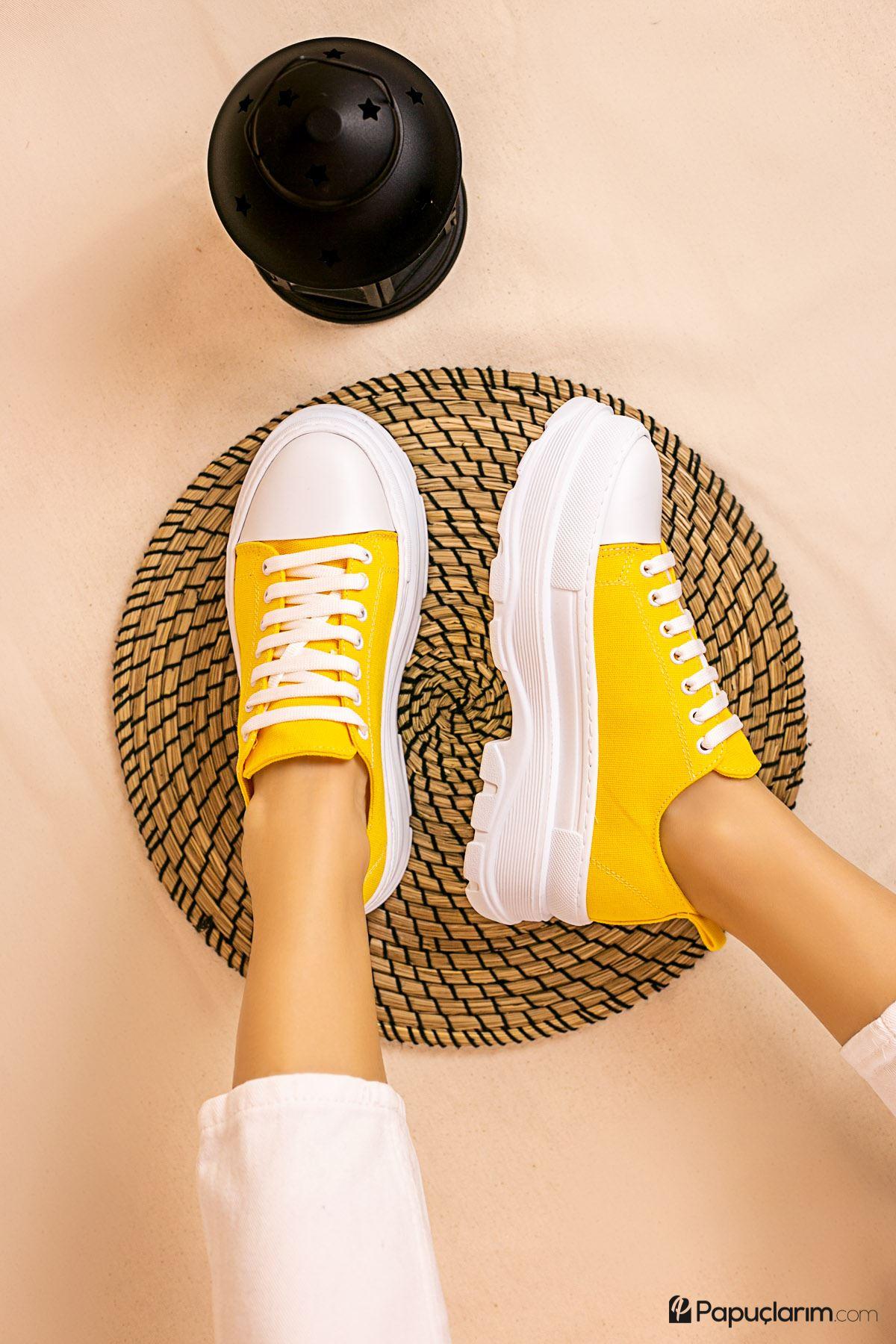 Dubai Limon Keten Bağcıklı Kadın Spor Ayakkabı