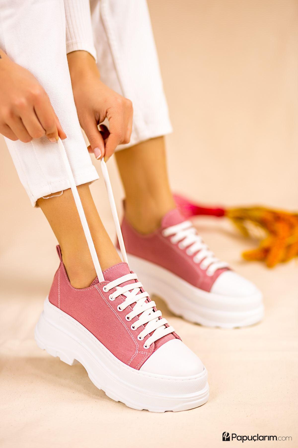 Dubai Pembe Keten Bağcıklı Kadın Spor Ayakkabı
