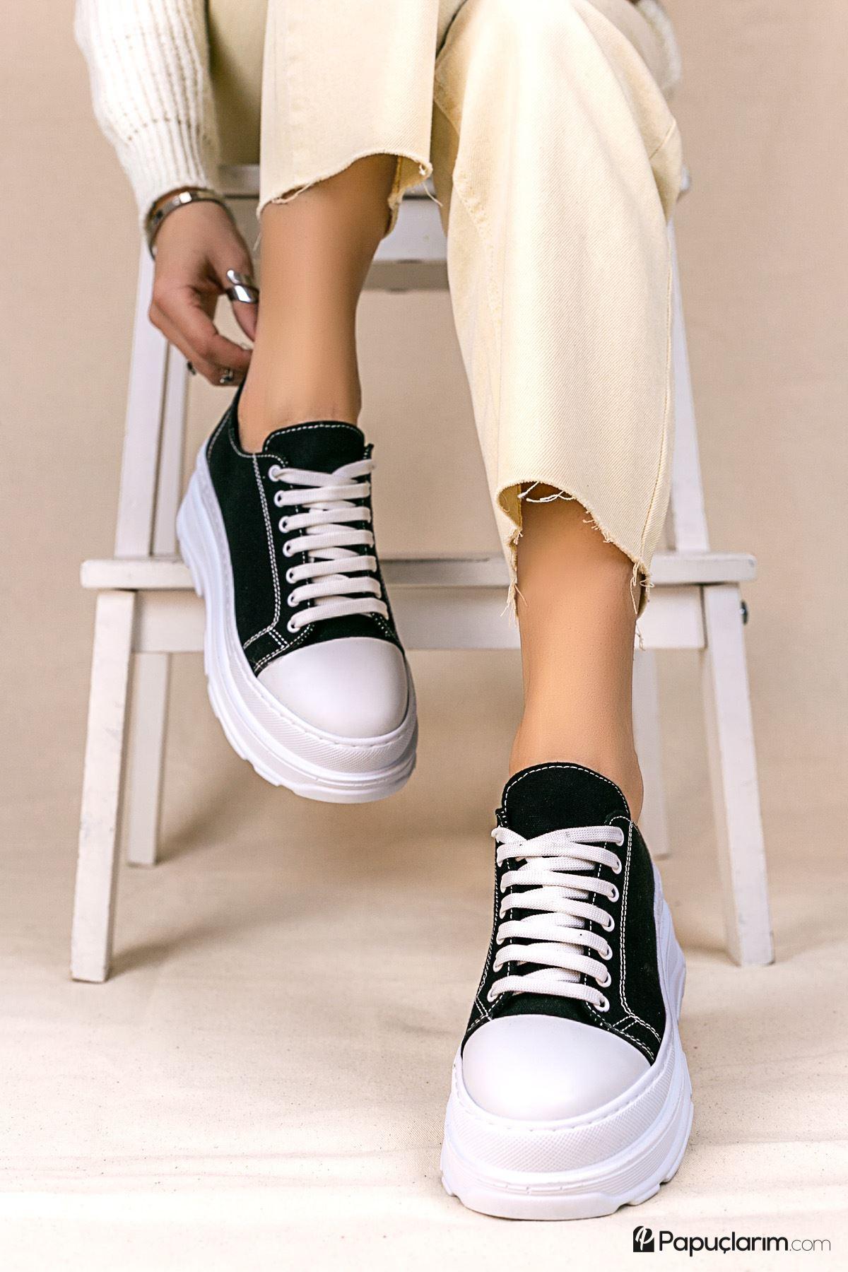 Dubai Siyah Keten Bağcıklı Kadın Spor Ayakkabı