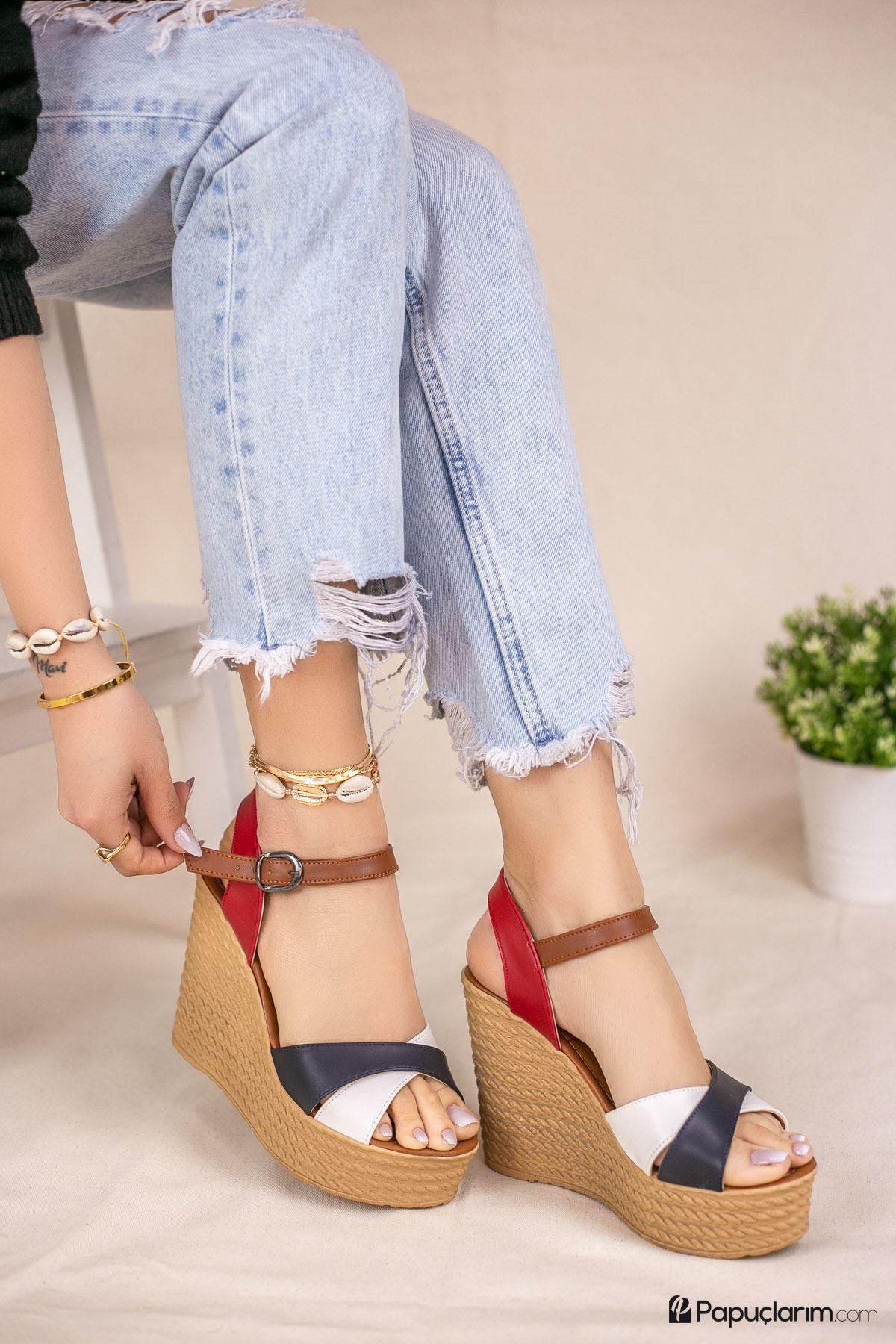 Shirley Lacivert Beyaz Kırmızı Mat Deri Dolgu Topuk Kadın Ayakkabı