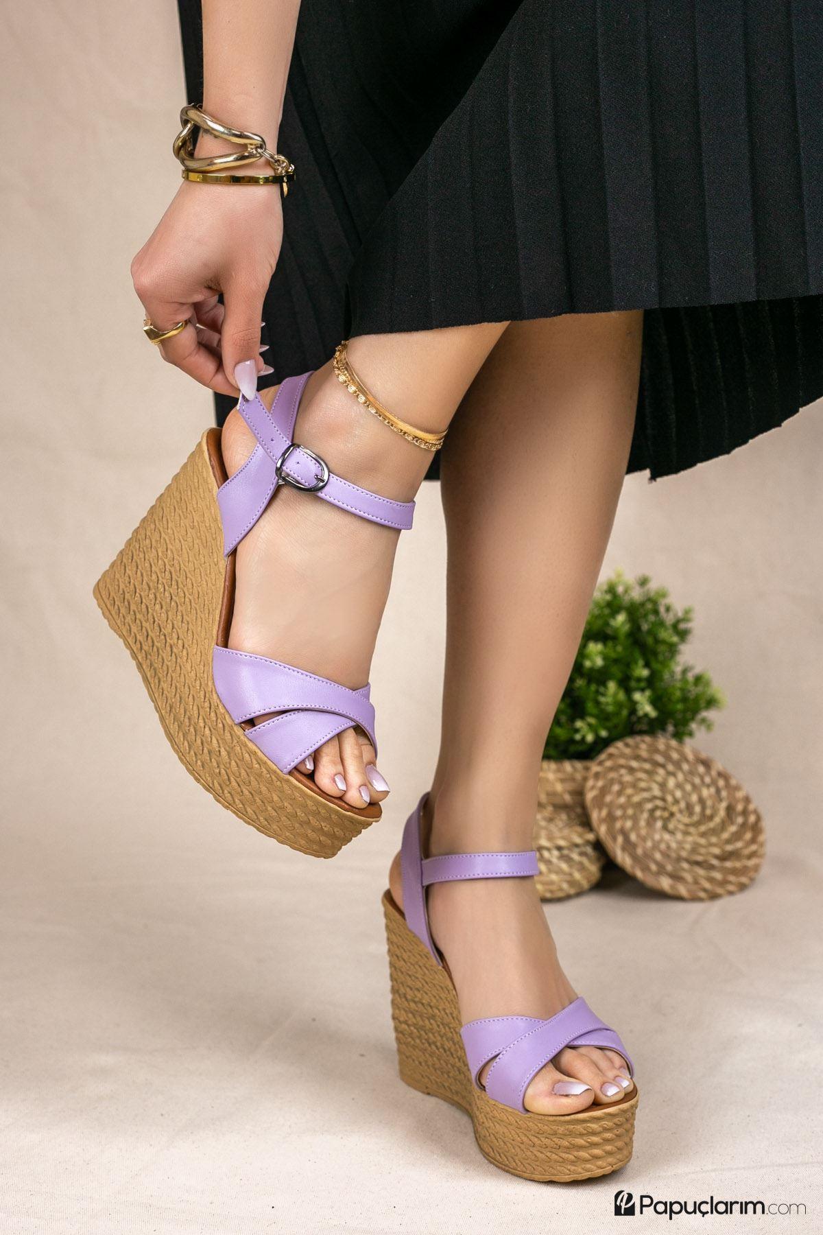Shirley Lila Mat Deri Dolgu Topuk Kadın Ayakkabı