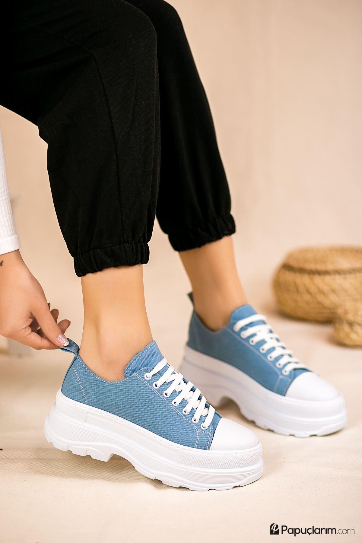 Dubai Bebek Mavi Keten Bağcıklı Kadın Spor Ayakkabı