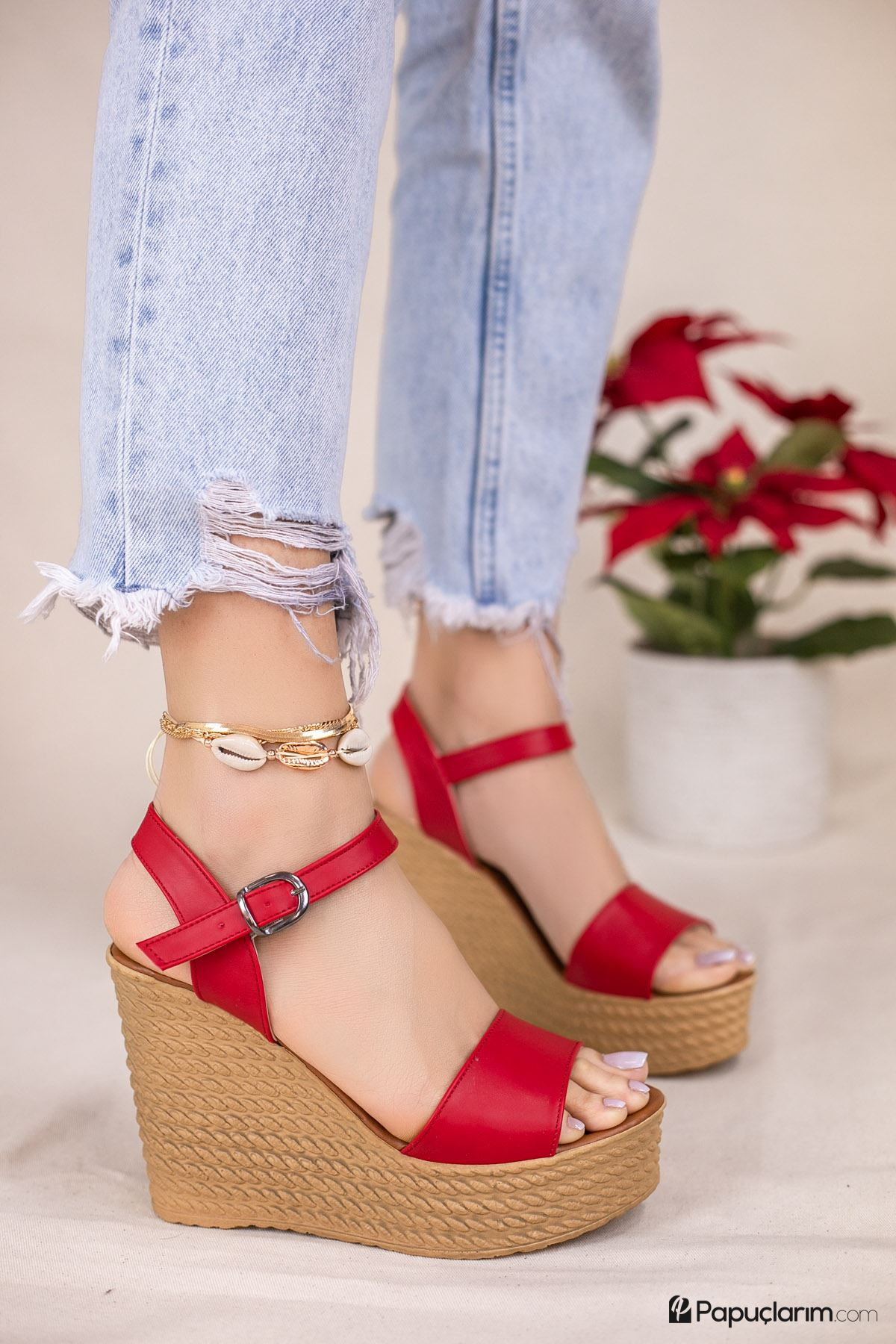 Angie Kırmızı Mat Deri Dolgu Topuk Kadın Ayakkabı