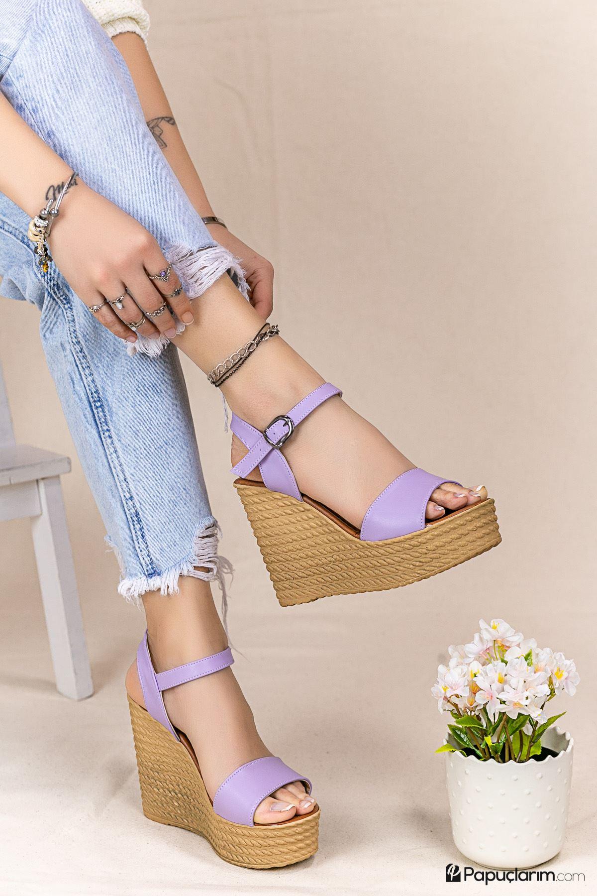 Angie Lila Mat Deri Dolgu Topuk Kadın Ayakkabı
