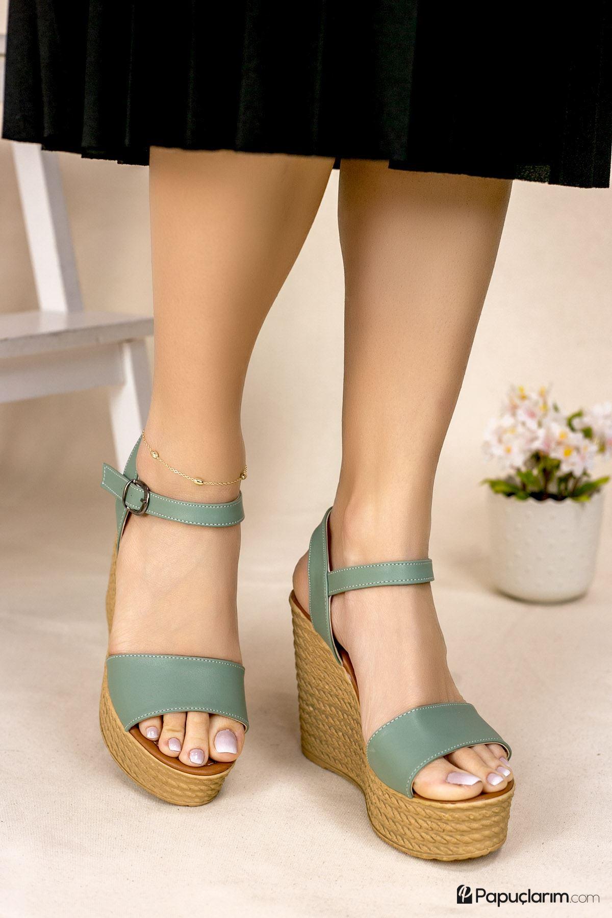 Angie Yeşil Mat Deri Dolgu Topuk Kadın Ayakkabı