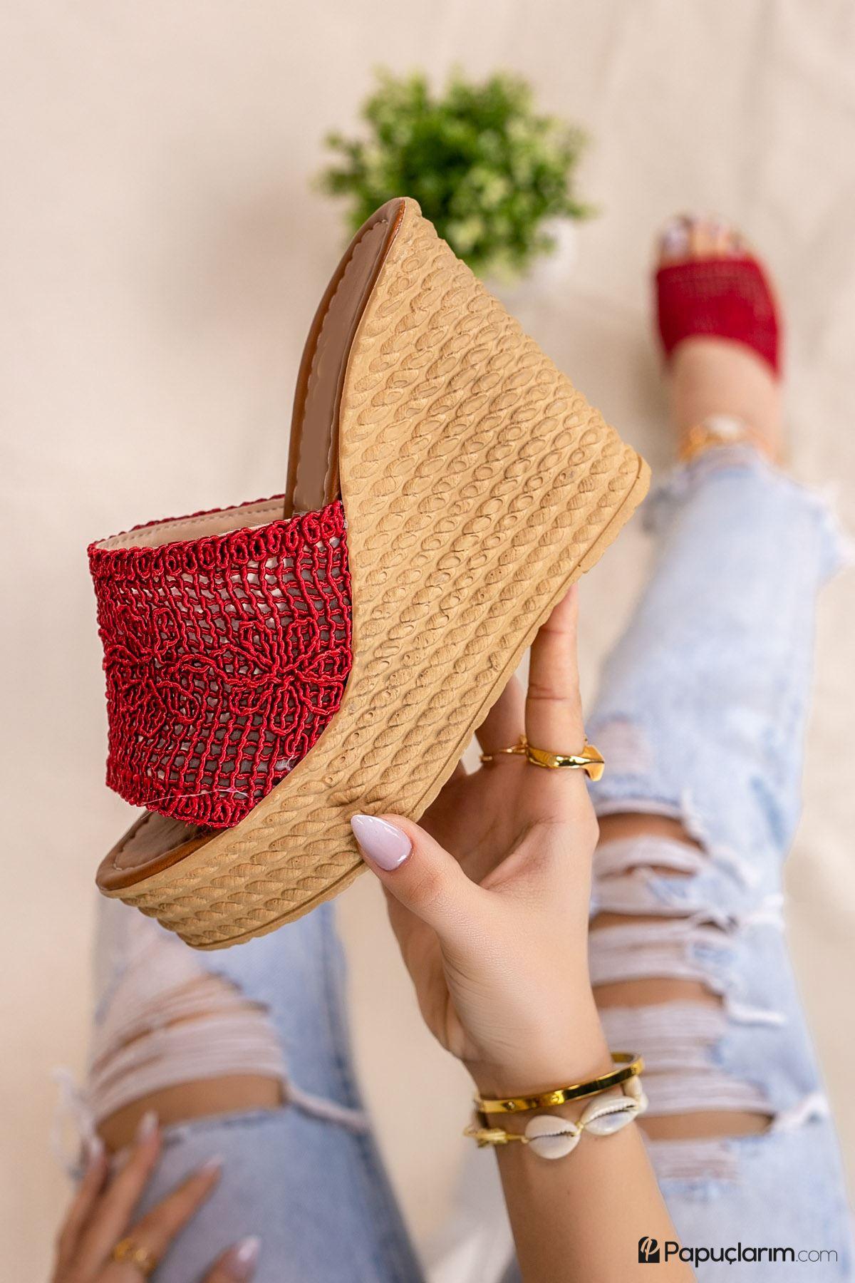 Arletta Kırmızı Dantel Yüksek Dolgu Topuk Kadın Terlik
