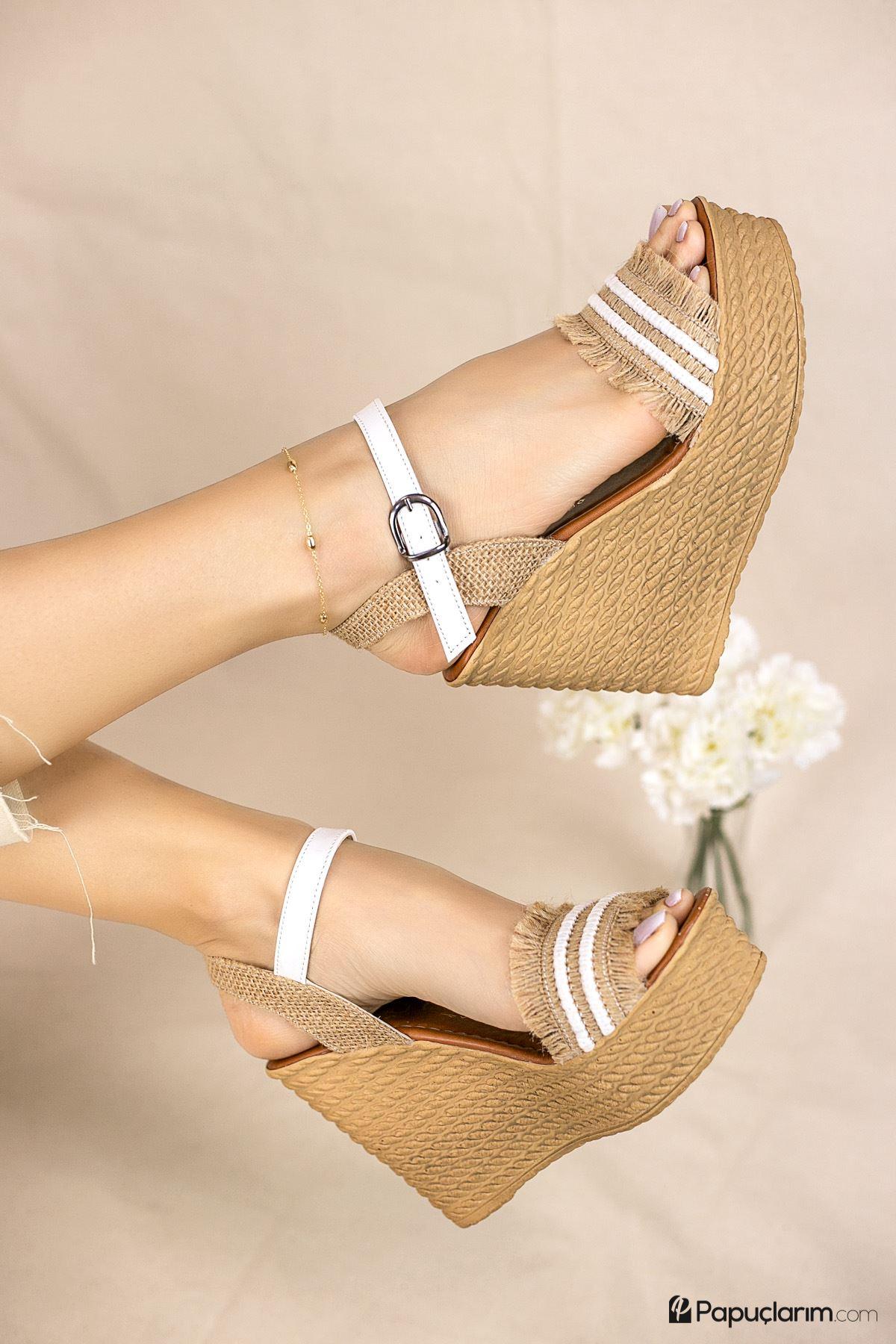 Debbi Beyaz Mat - Hasır Yüksek Dolgu Topuk Kadın Ayakkabı