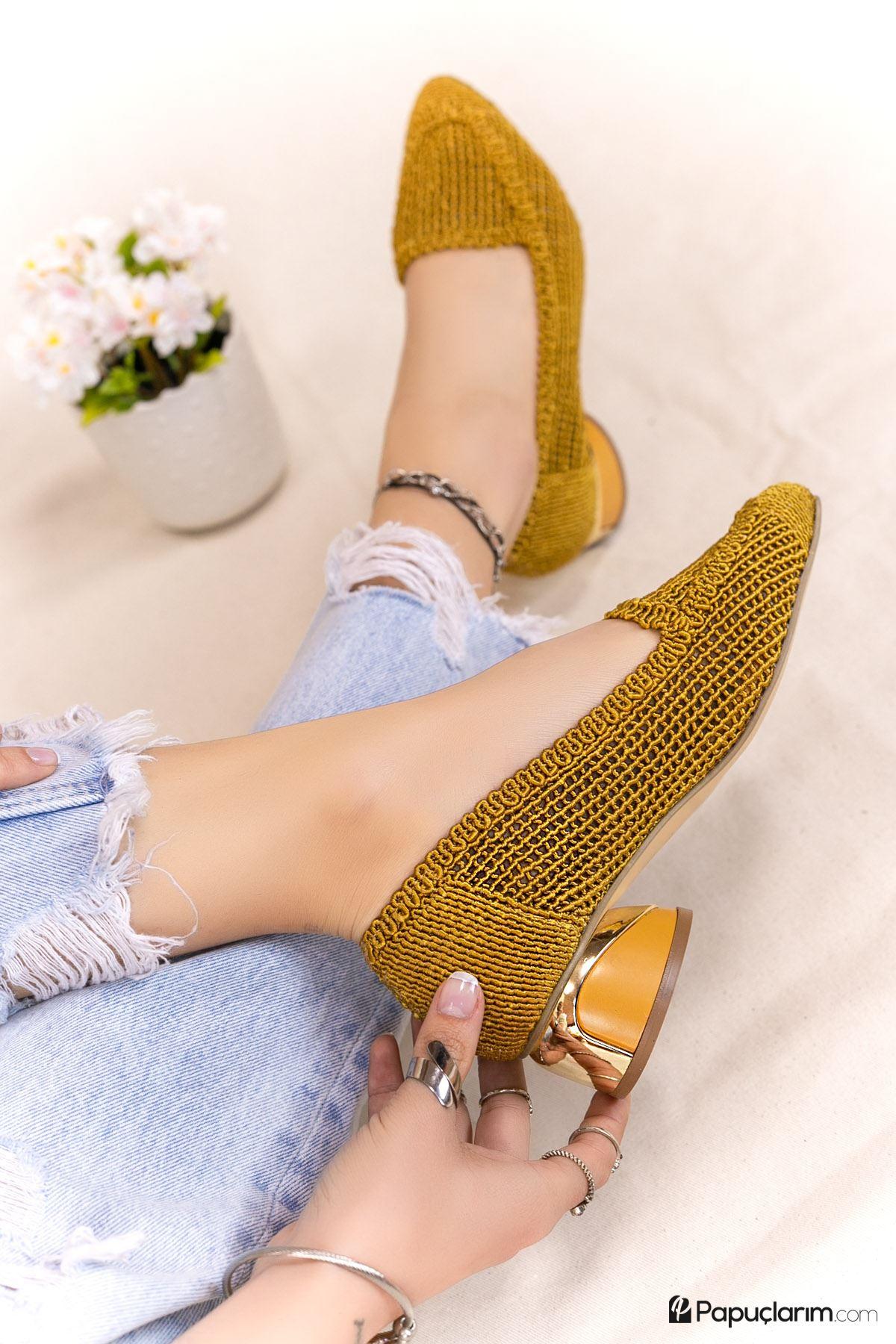 Meli Hardal Dantel Topuklu Kadın Günlük Ayakkabı