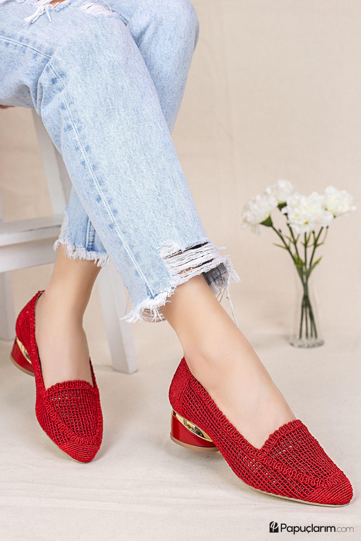 Meli Kırmızı Dantel Topuklu Kadın Günlük Ayakkabı