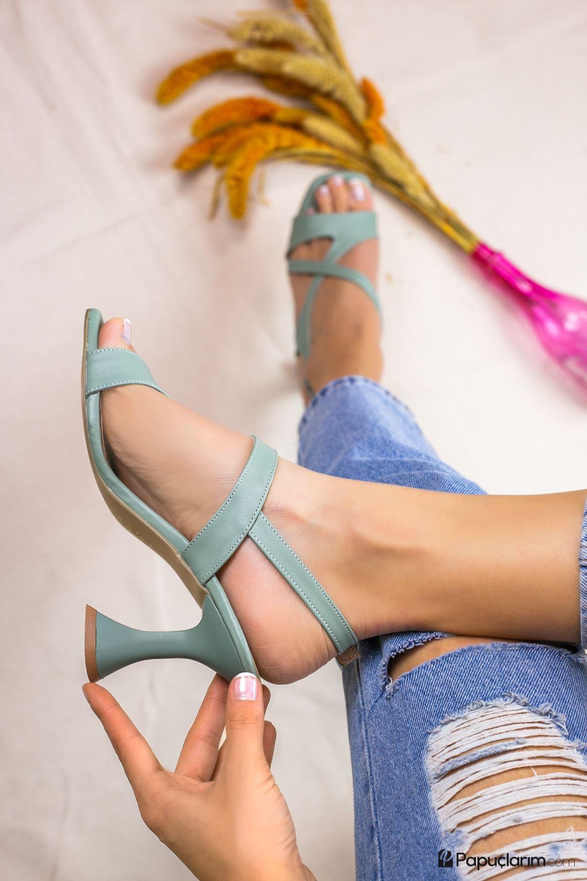 Jaylee Yeşil Mat Deri Kadın Topuklu Ayakkabı