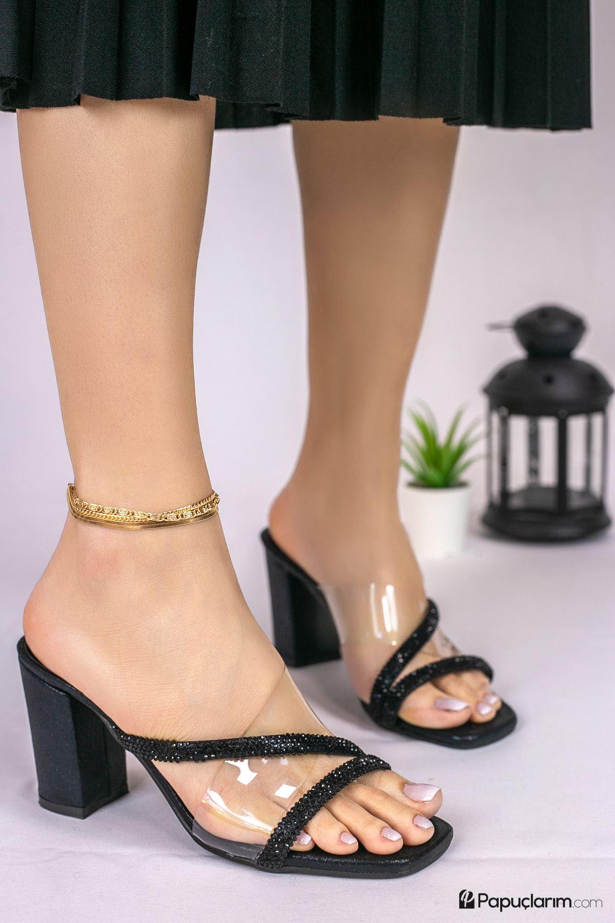 Savana Şeffaf - Siyah Taşlı Kadın Topuklu Terlik