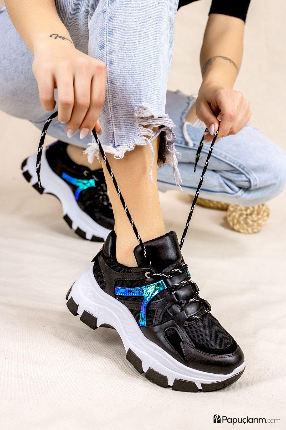 Chana Siyah Bağcıklı Kadın Spor Ayakkabı