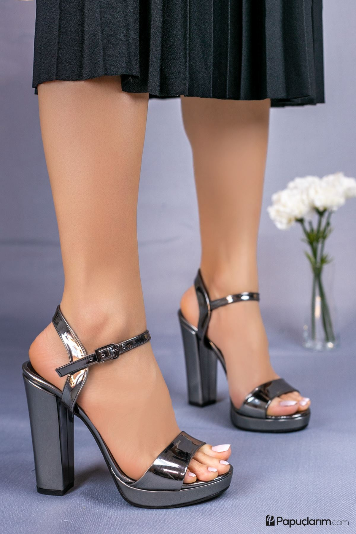 Alicia Platin Yüksek Platform Kadın Topuklu Ayakkabı