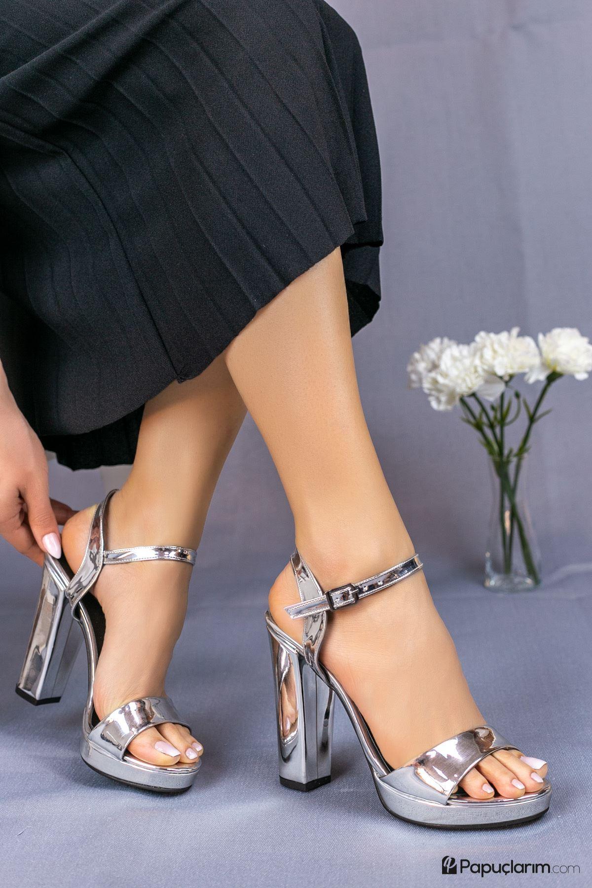 Alicia Gümüş Yüksek Platform Kadın Topuklu Ayakkabı