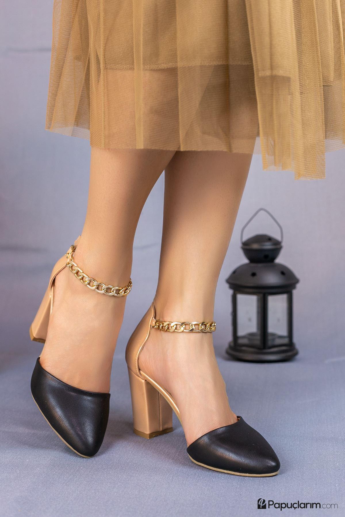 Catena Siyah Mat Deri Kadın Topuklu Ayakkabı