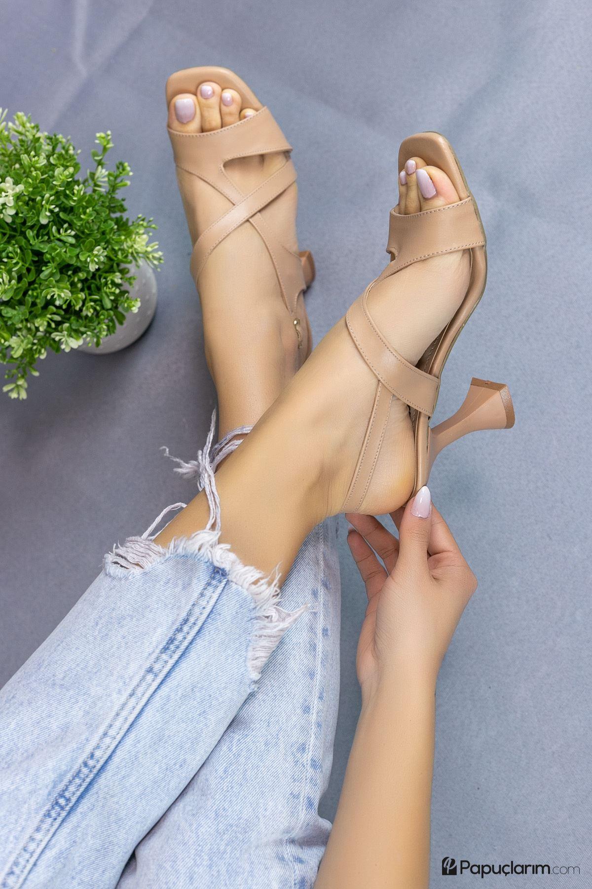 Jaylee Vizon Mat Deri Kadın Topuklu Ayakkabı