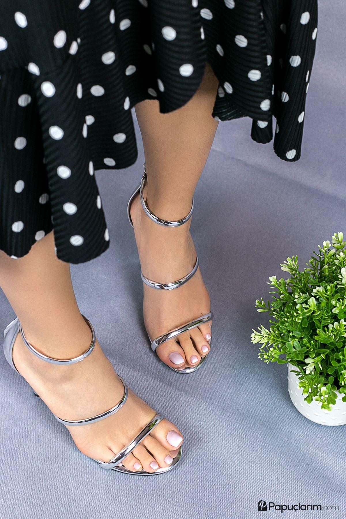 Liona Platin Yüksek Topuklu Kadın Ayakkabı