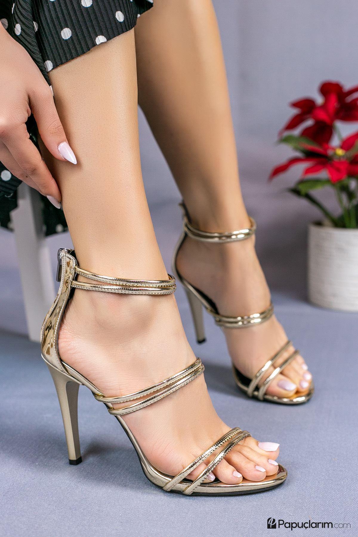 Rasha Altın Yüksek Topuklu Kadın Ayakkabı
