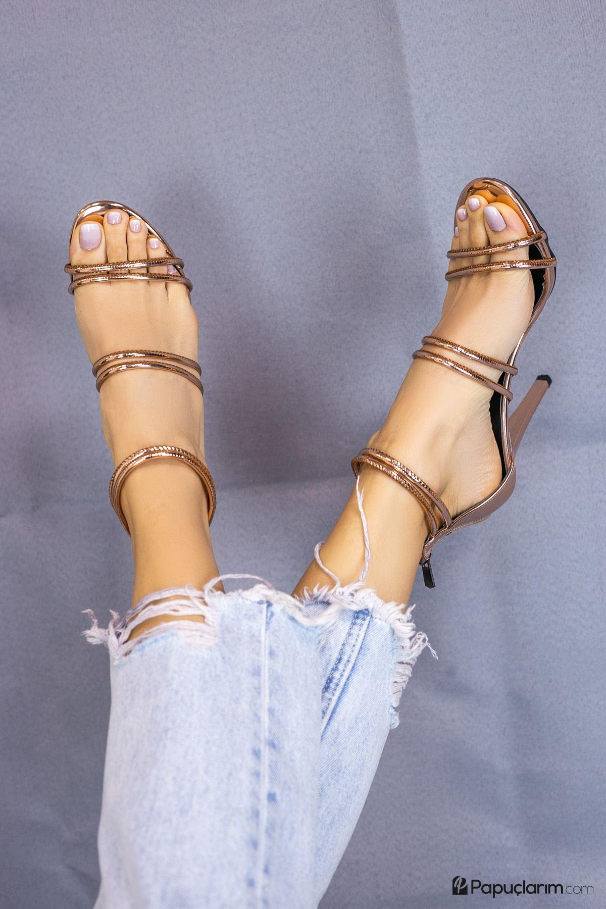 Rasha Bronz Yüksek Topuklu Kadın Ayakkabı