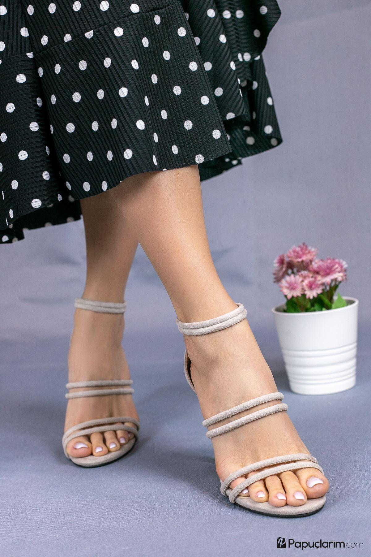 Rasha Vizon Süet Yüksek Topuklu Kadın Ayakkabı