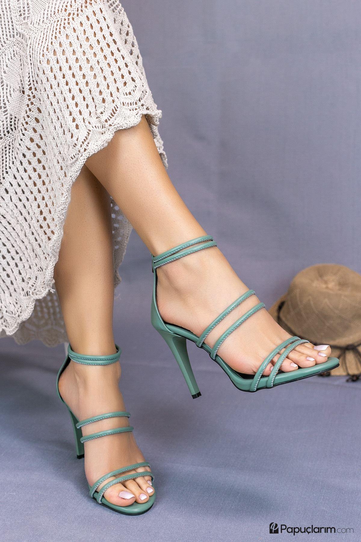 Rasha Yeşil Mat Deri Yüksek Topuklu Kadın Ayakkabı