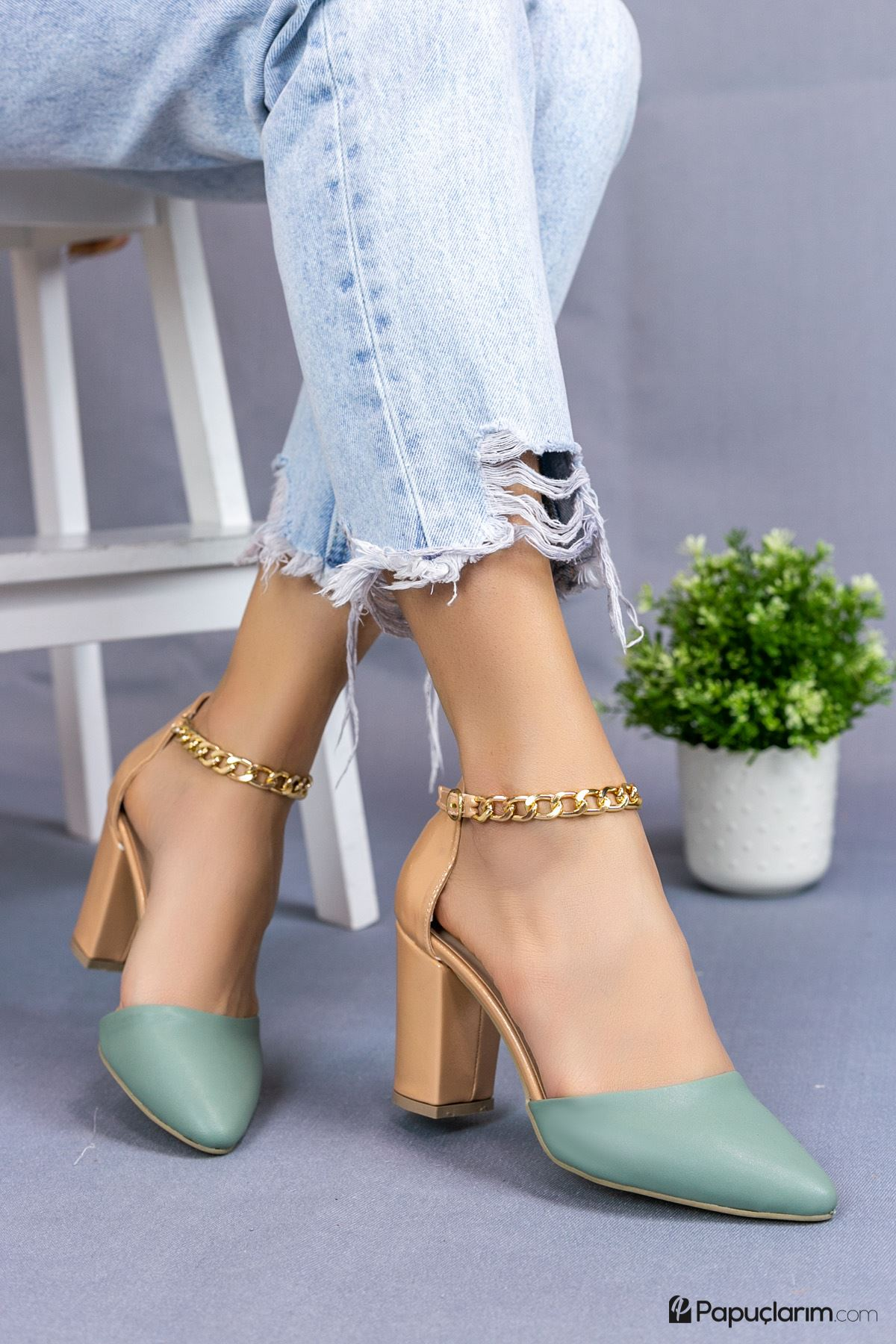 Catena Yeşil Mat Deri Kadın Topuklu Ayakkabı