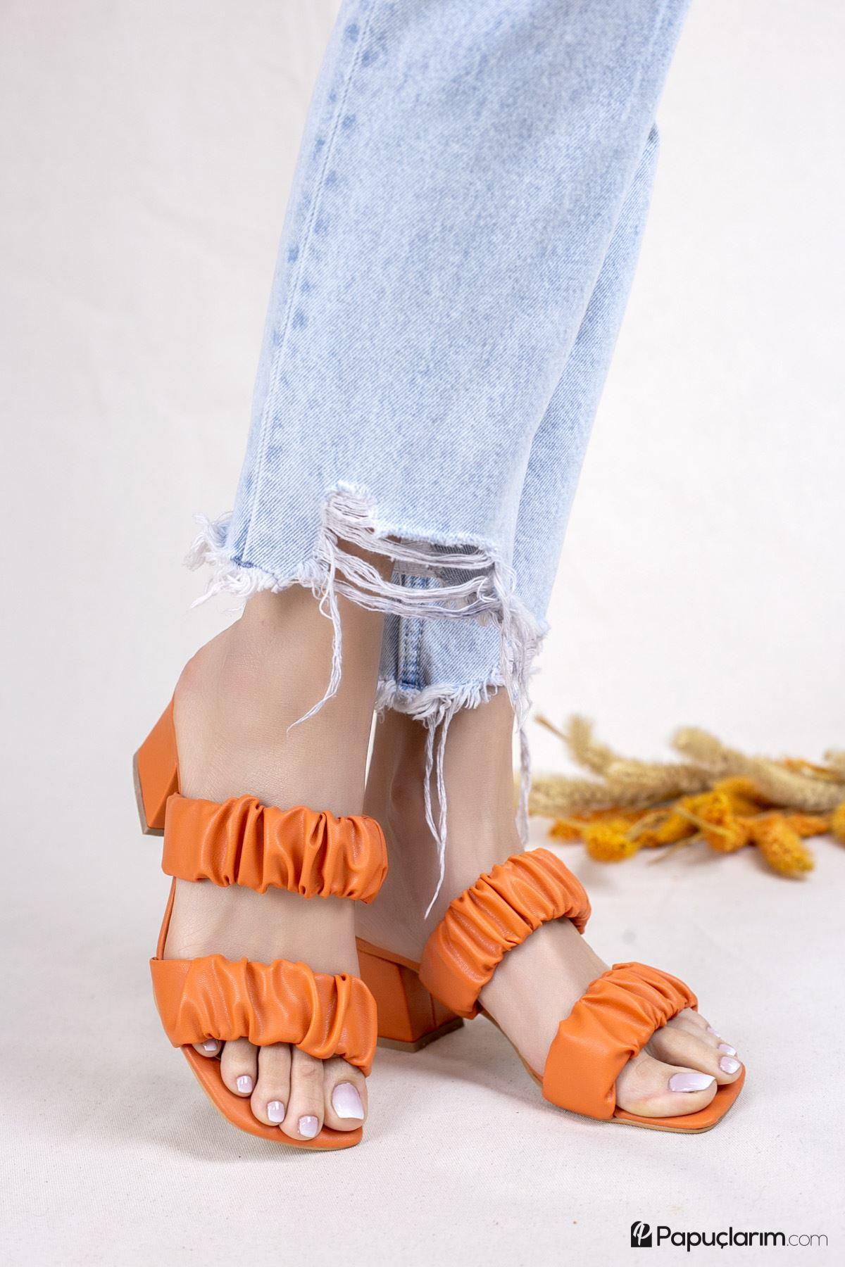 Abree Oranj Mat Deri Kadın Topuklu Terlik