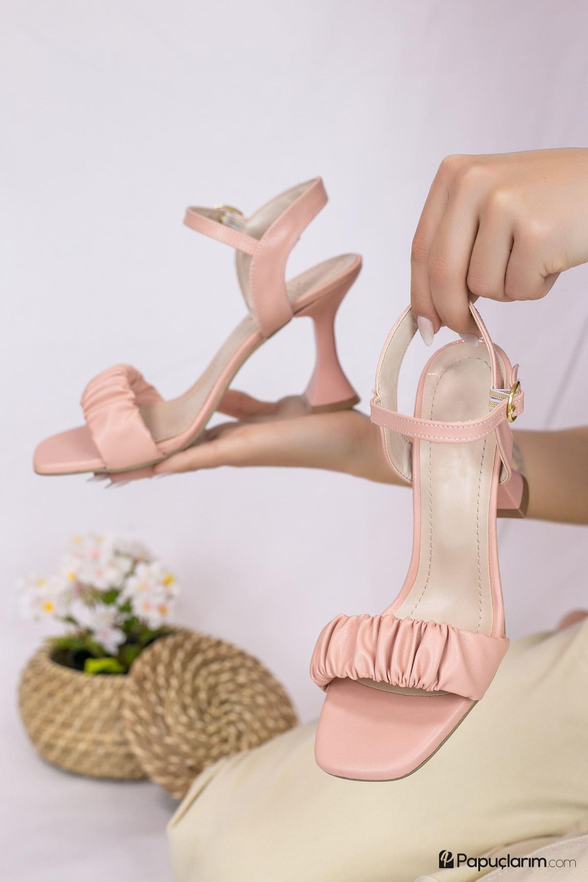 Mistico Pudra Mat Deri Kadın Topuklu Ayakkabı