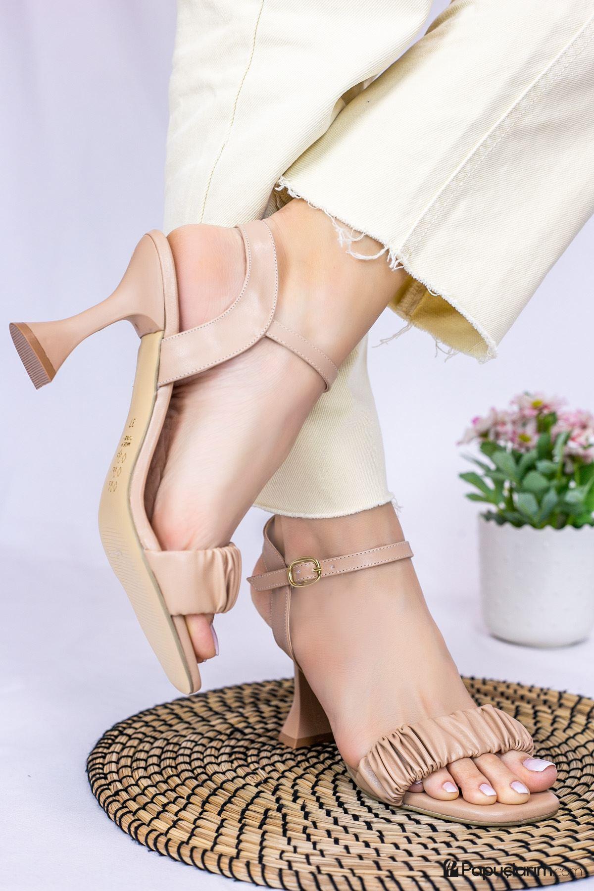 Mistico Vizon Mat Deri Kadın Topuklu Ayakkabı