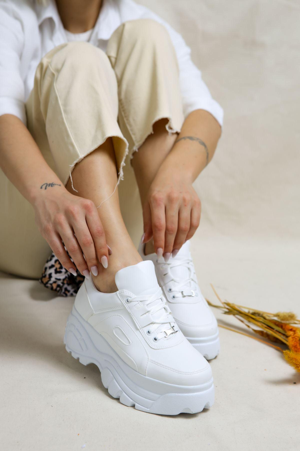 Dacey Beyaz Yüksek Tabanlı Kadın Spor Ayakkabı