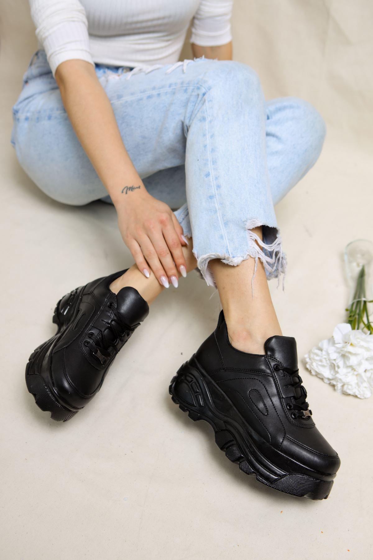 Dacey Siyah Yüksek Tabanlı Kadın Spor Ayakkabı