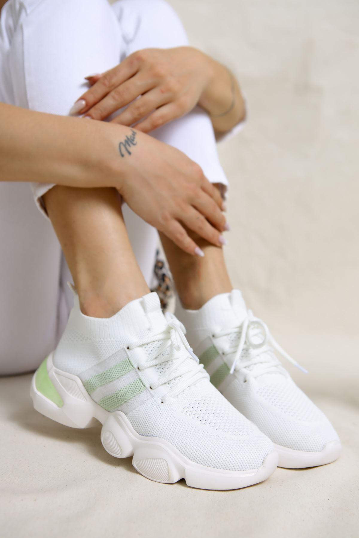 Mercy Beyaz Triko Bağcıklı Spor Ayakkabı