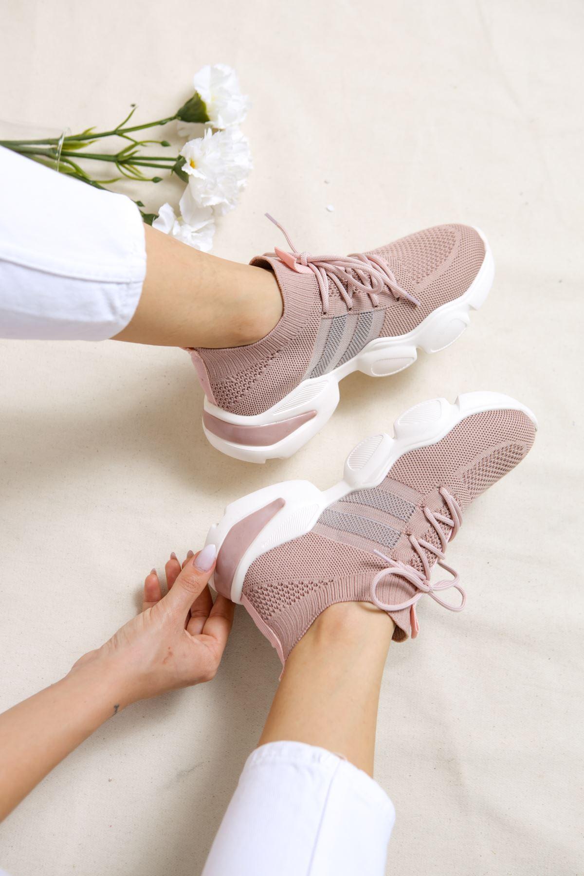 Mercy Pudra Triko Bağcıklı Spor Ayakkabı