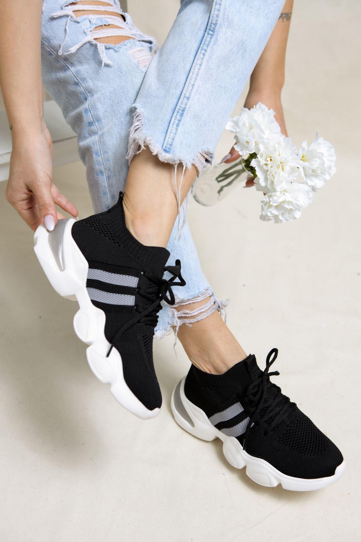 Mercy Siyah Triko Bağcıklı Spor Ayakkabı