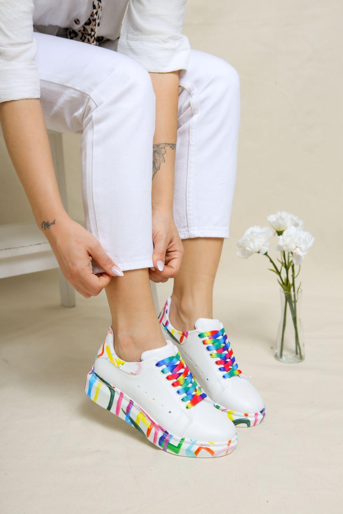 Voleta Gökkuşağı Kadın Spor Ayakkabı
