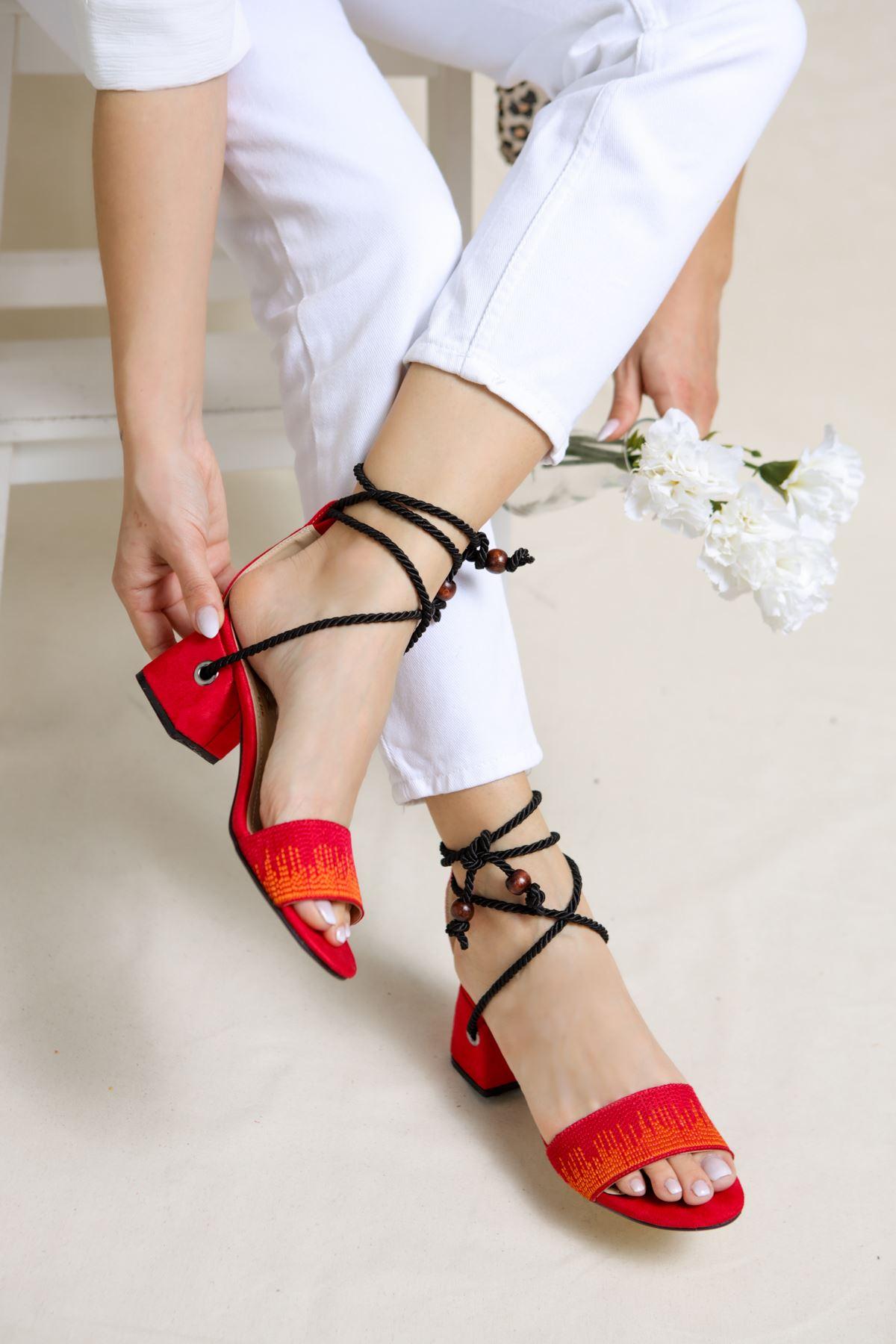 Fulvia Kırmızı Süet Kadın Topuklu Ayakkabı