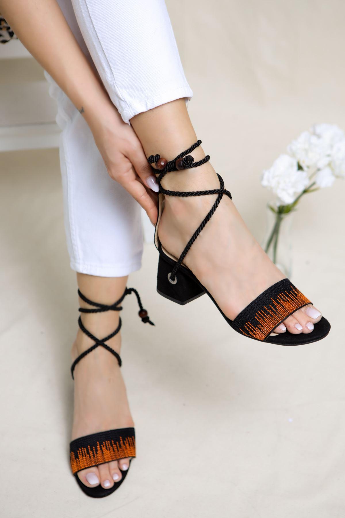 Fulvia Siyah Süet Kadın Topuklu Ayakkabı