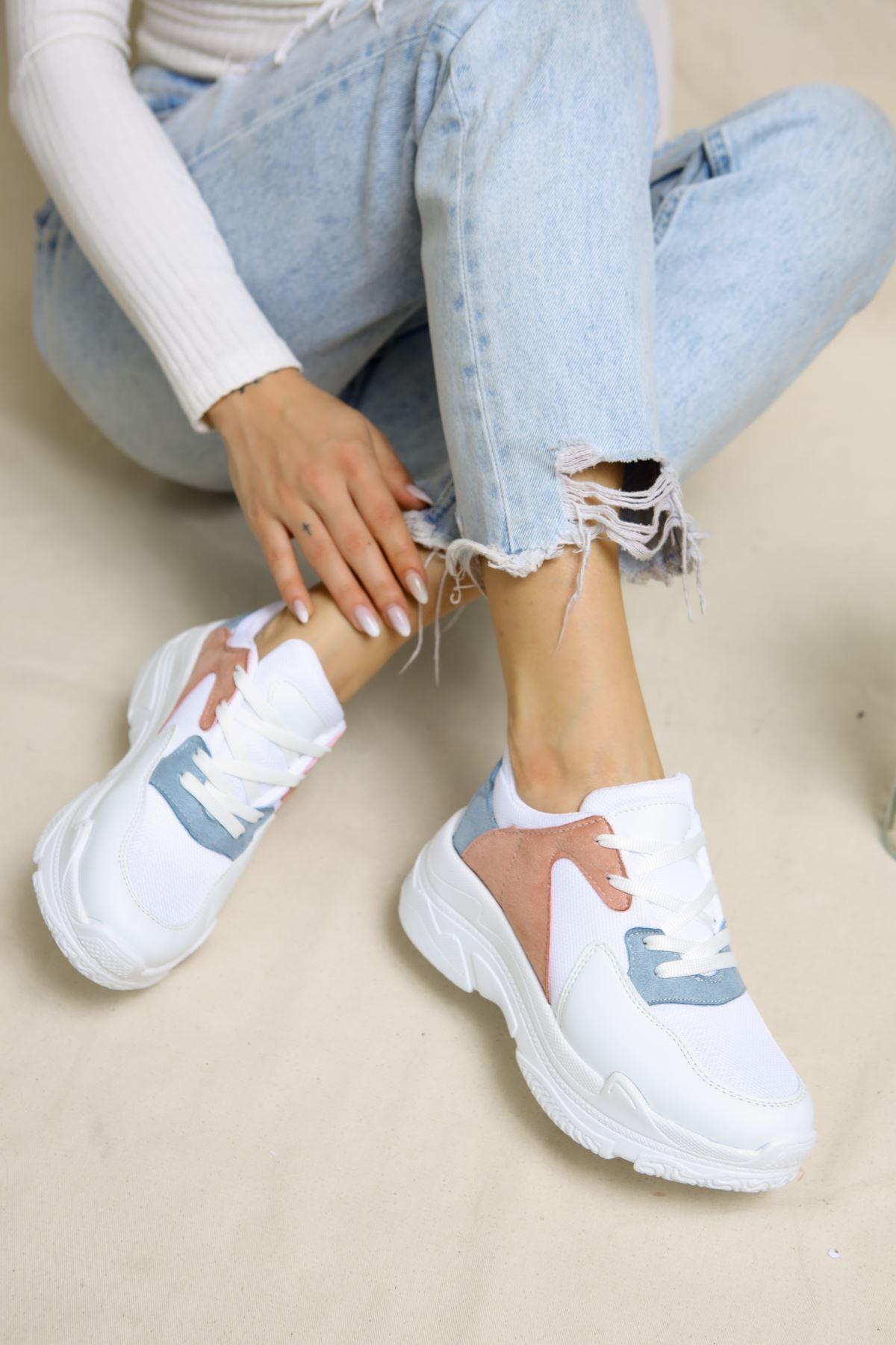 Loic Beyaz Pudra Mavi Kadın Spor Ayakkabı