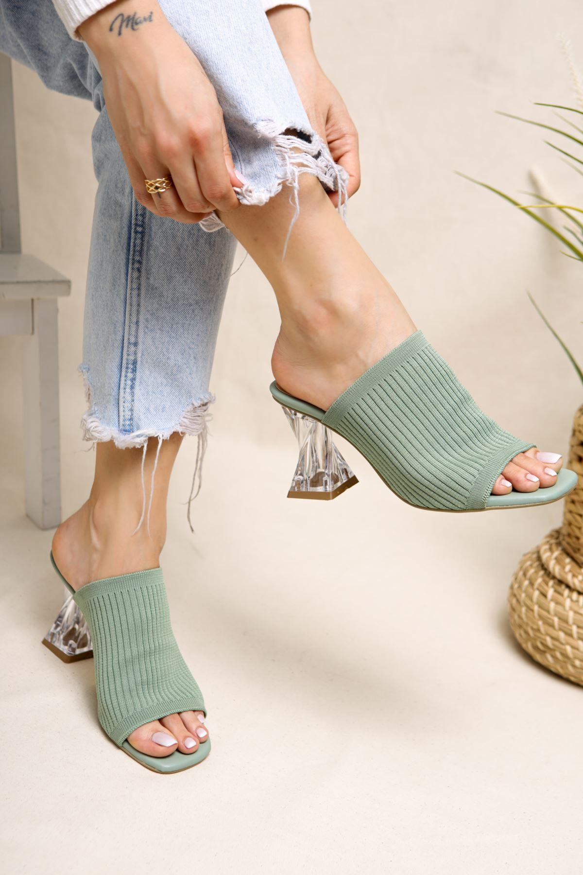 Gemma Yeşil Triko Kadın Topuklu Terlik