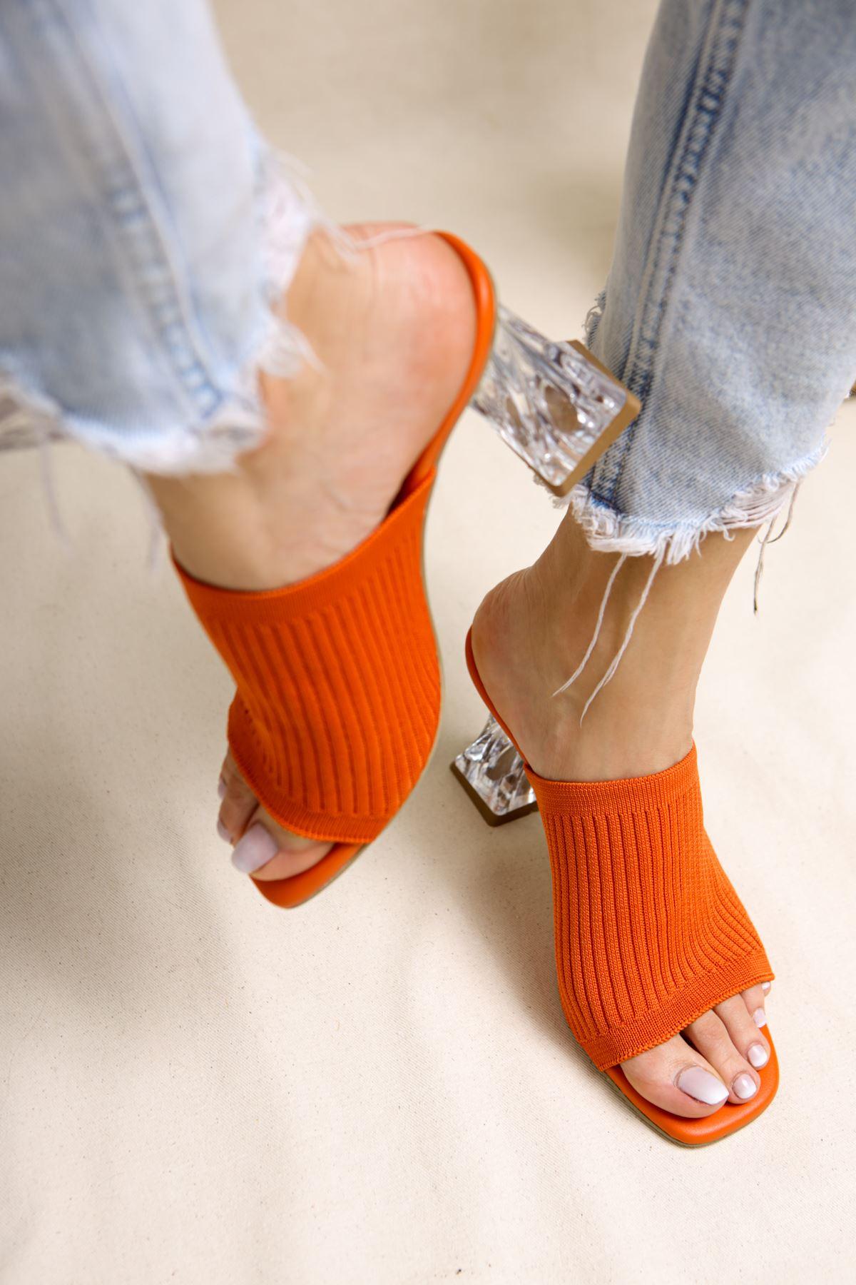 Gemma Oranj Triko Kadın Topuklu Terlik