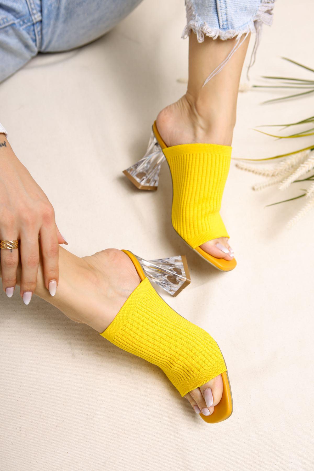 Gemma Limon Triko Kadın Topuklu Terlik