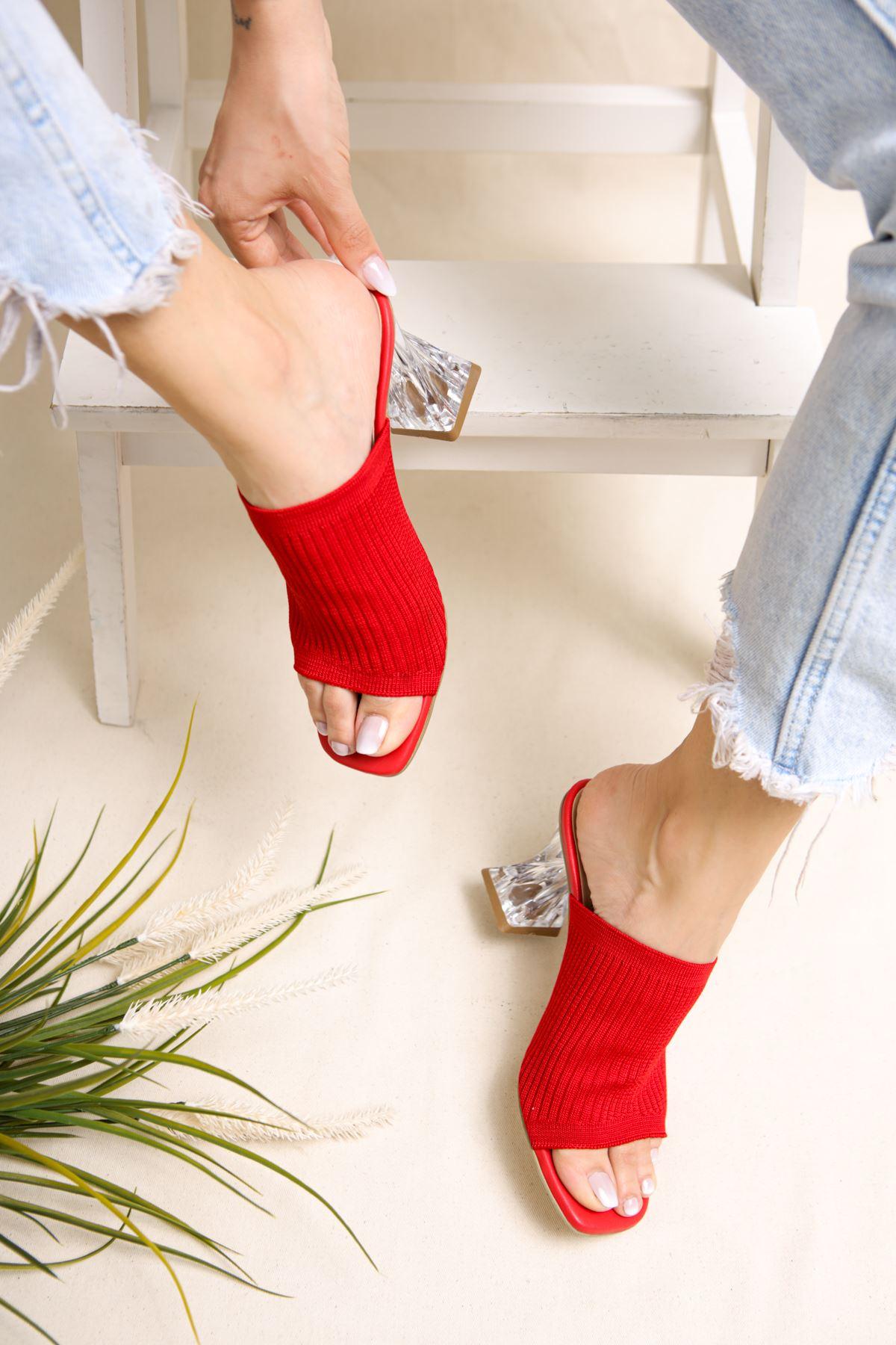 Gemma Kırmızı Triko Kadın Topuklu Terlik