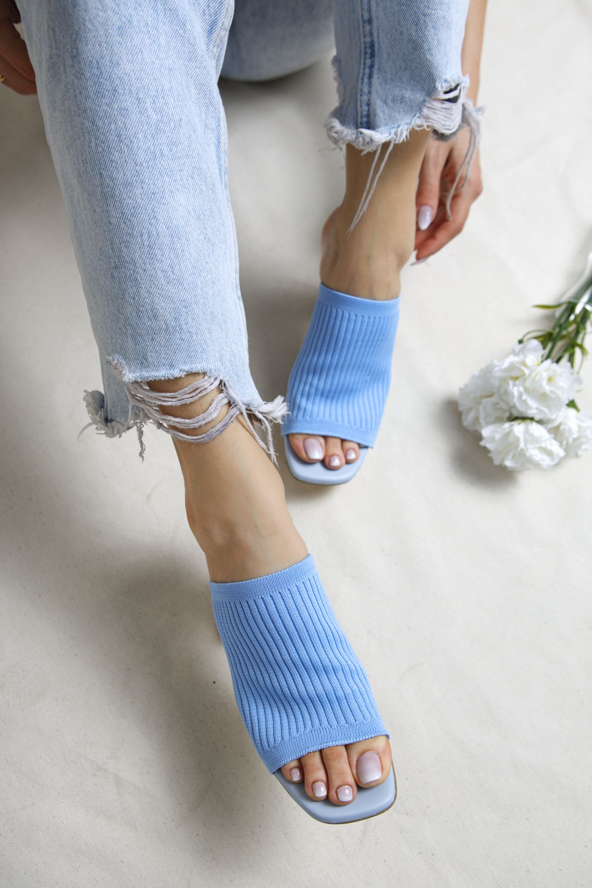 Gemma Bebek Mavi Triko Kadın Topuklu Terlik